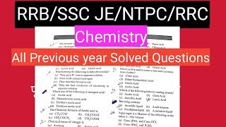Acid, Base and Salts Previous year questions (Chemistry)RRB/SSC-JE/NTPC/RRC