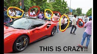 People Went CRAZY at Red Signal after seeing 6 Supercars!! - INDIA(Hyderabad)
