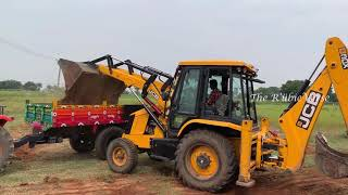 JCB Loading Sand to Tractor and Tractor Unloading Sand | The RubieVerse,