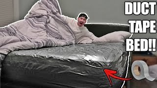 SURPRISE DUCT TAPE BED PRANK ON ROOMMATE!! (100 LAYERS)