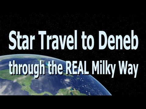 Star Travel to Deneb through the Real Milky Way