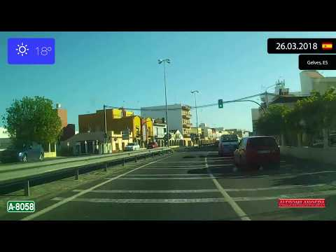 Driving through Provincia de Sevilla (Spain) from Bormujos to Coria del Río 26.03.2018 Timelapse x4