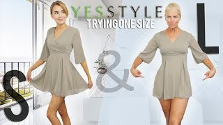 "TRYING ""ONE SIZE FITS ALL"" CLOTHES ON TWO BODY SHAPES!!"