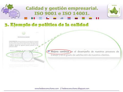 ISO 9001. Requisitos y ejemplo de política de la calidad.