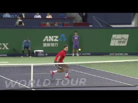 Roger Federer hit hot shot volley 2014 Shanghai Rolex Masters final