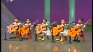 North Korea children guitar