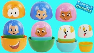 Bubble Guppies Stacking Cups Surprise Eggs Disney Frozen Elsa Spiderman Baby Toys