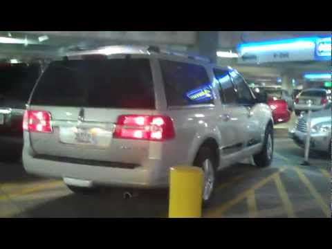 Getting our HUGE Lincoln Navigator at the car rental, in Orlando