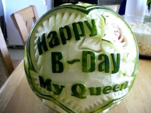 Happy Birthday Watermelon Carving