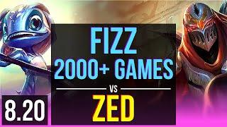 FIZZ vs ZED (MID) | 2000+ games, KDA 12/2/3, Legendary | Korea Challenger | v8.20