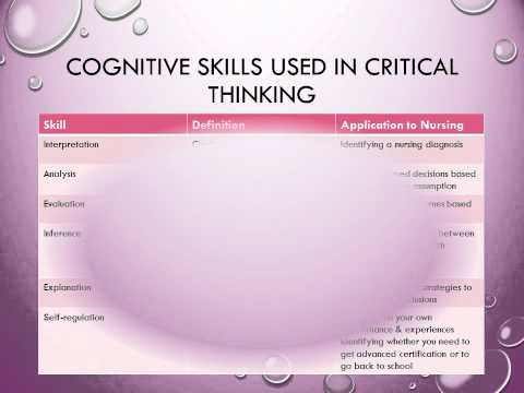 application of critical thinking skills in nursing process