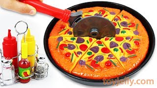 Play Doh Pizza Velcro Cutting Baby Toys with Microwave Oven Playset Learn Nursery Rhymes for Kids