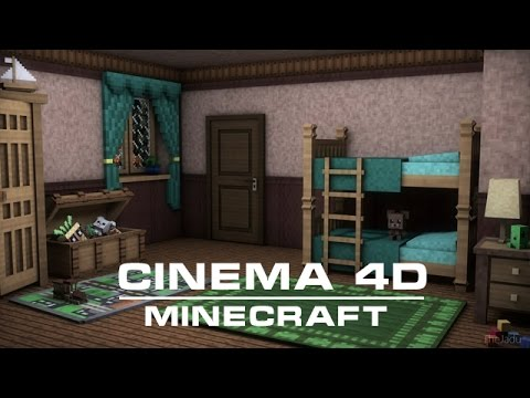 [cinema 4d] Minecraft Furniture For Children's Room Models Pack video