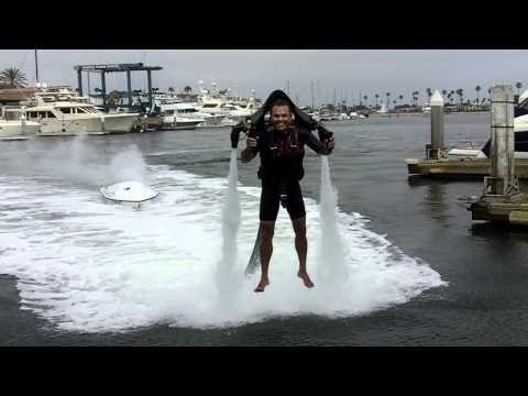 John Morris Landing his JetLev on the deck of a TugBoat (jet pack for water)