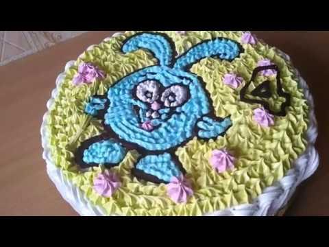 ДЕТСКИЙ Торт КРОШ из Смешариков.Как украсить торт для детей,Кремовый торт раскраска Украшение тортов