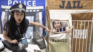 Pretend Play Police LOCKED UP KID in Jail Playhouse for Stealing