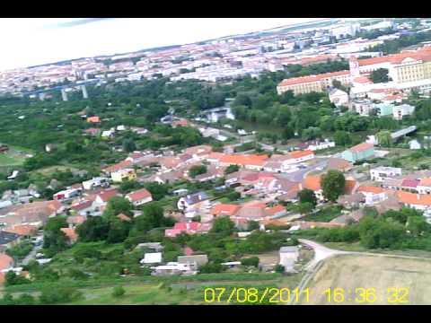Znojmo z pohledu RC letadla směrem od Sedlešovic