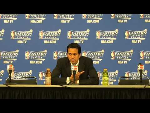 Miami Heat coach Erik Spoelstra speaks after Game 4 win over Pacers