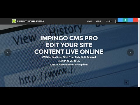 Impingo CMS PRO for Mobirise Sites Preview