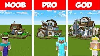 Minecraft NOOB vs PRO vs GOD: MODERN GREEN HOUSE BUILD CHALLENGE in Minecraft / Animation