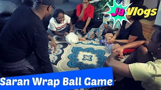 SARAN WRAP BALL GAME   FAMILY FUN