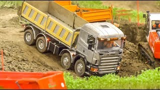 AWESOME RC Trucks and Machines work hard on a construction site!