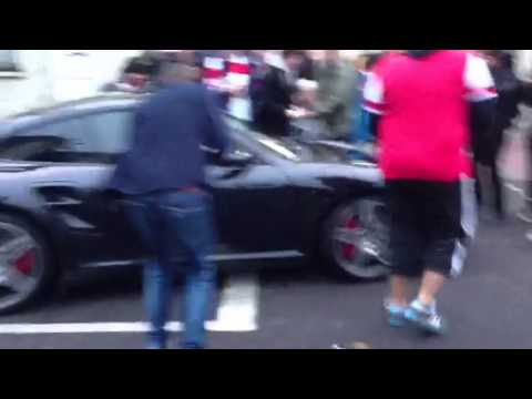 Santi Cazorla leaving the Emirates after Arsenal 5 Spurs 2