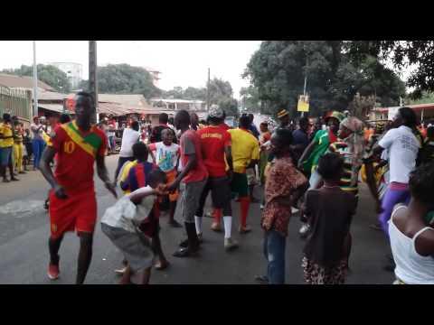 Manifestation de joie des supporters du syli national à Conakry