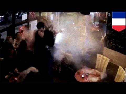 Paris attacks: Video of Brahim Abdeslam suicide bomb at Comptoir Voltaire restaurant - TomoNews