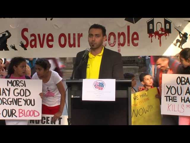Mr Mina Yassa representing Amnesty at ACM&#039;s Coptic rights protest April 2013