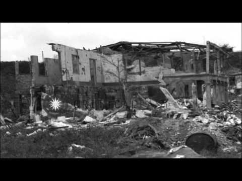 Wrecked church, houses and buildings in Guam Island, United States. HD Stock Footage