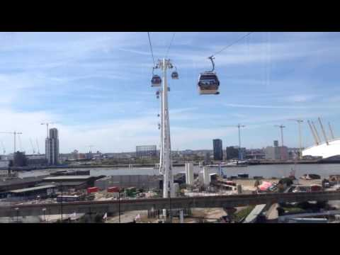 On board the Emirates cable car across the Thames