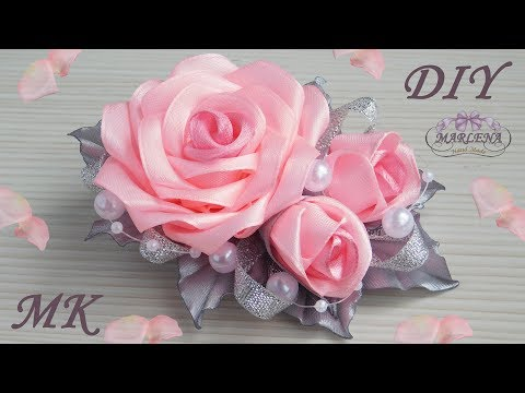Роза канзаши 🌹. Нарядная заколка с букетиком роз МК/DIY 👐