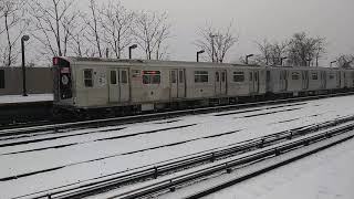 NYC SNOWSTORM SPECIAL: R179 A TRAIN IN PASSENGER TESTING DEPARTS SNOW COVERED AQUEDUCT NORTH CONDUIT