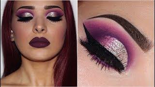 Purple Smokey Eye w/ Silver Glitter   Makeup Tutorial