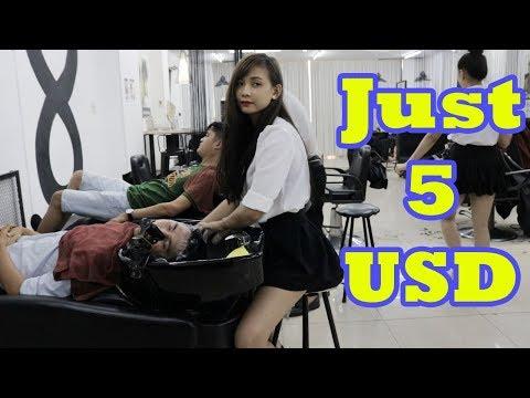 Vietnam Barbershop Massage Face, Haircut, Hair Wash with Cute Girl