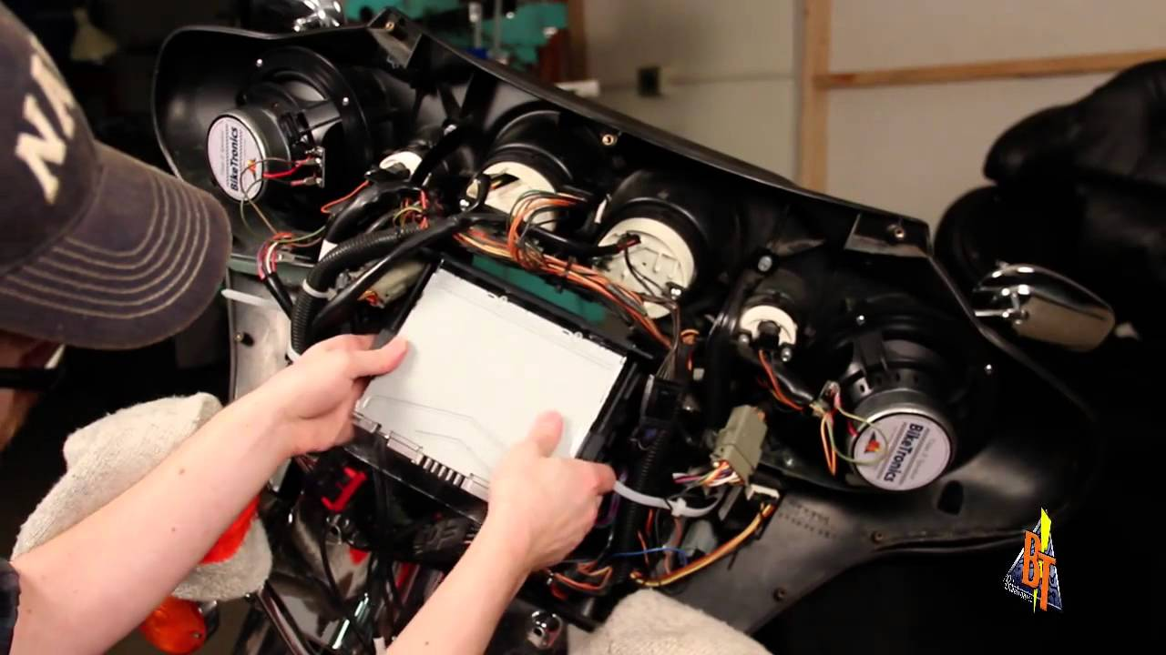 wiring diagram for stereo amplifier harley aftermarket radio install youtube  harley aftermarket radio install youtube