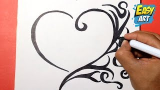 how to draw a heart -   como dibujar un corazon