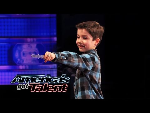 Grennan The Green Monster: 8-year-old Throws Knives At Dad - America's Got Talent 2014 video