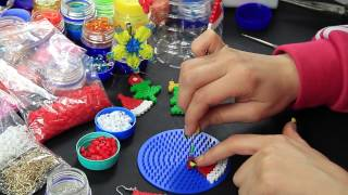 Video Tutorial Cappellino babbo natale hama beads pyssla Santa Claus hat tutorial
