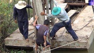 Bác nông dân Việt Nam Quá thông minh tự chế máy ép cọc bê tông / concrete pile press machine.