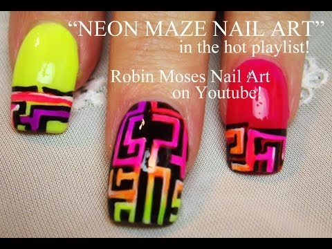 3 Nail Art Tutorials   DIY Neon Maze Nail Art design tutorial