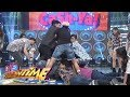 It's Showtime Cash-Ya: Team Vice hugs a punching bag
