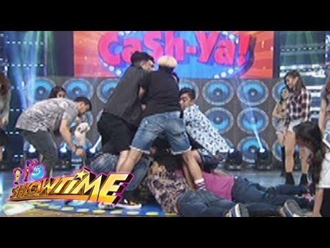 It's Showtime Cash-Ya: Team Vice hugs a punching bag
