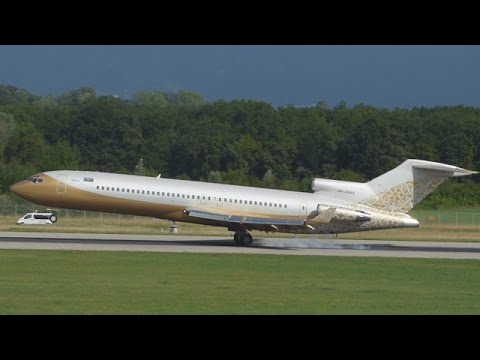 [FullHD] Rotate too soon!!! SW Business Boeing 727-200(A) landing, taxi & takeoff at Geneva/GVA/LSGG