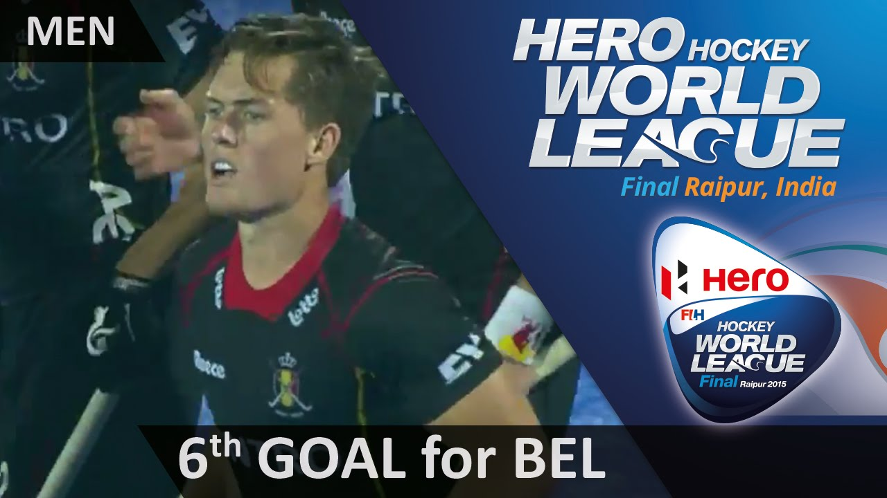 BEL 6-2 CAN Tom Boon fires a dragflick high into the net for a sixth #HWL2015 #Raipur