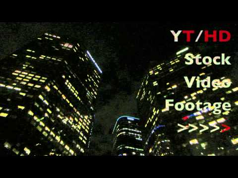 Downtown Los Angeles High Rise Office Buildings w/ LA City Night Skyline | HD Stock Video Footage