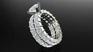 Princess Eternity Diamond Wedding Ring Set 14K White Gold