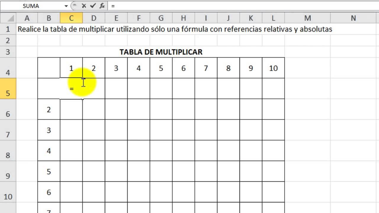 Excel 2010 B 225 Sico Ejercicio 12 Tabla De Multiplicar