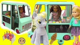 American Girl Doll Serves My Little Pony Derpy + Shopkins Food At Ice Cream Truck